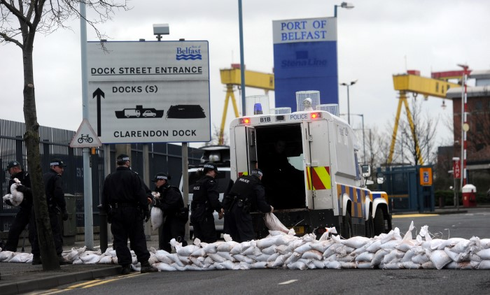 PSNI Officers Deploying Sand Bags as Flood Defence